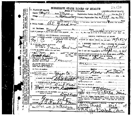 Southern Mission Baptist Church - Albert\'s Death Certificate